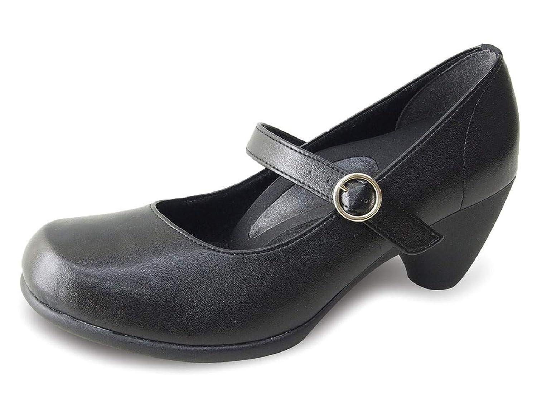 [リゲッタ] パンプス ストラップ ヒール 5.5cm リクルート 仕事用 オフィス 黒 ベルト 痛くない 履きやすい 日本製 SMS065 RW0012/RW1012