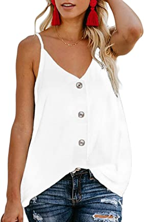 2a478e1618d04 HOTAPEI Women s Casual Spaghetti Strap Button Front Tie Front V Neck  Sleeveless Blouses Tank Tops