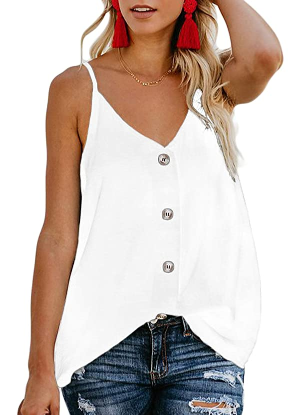 FARYSAYS Women's Casual V Neck Button Down Strappy Cami Tank Tops Summer Sleeveless Shirts Blouses