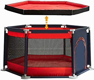 YEHL Playpen Toddler Portable Safety Play Yard with Crawling Mat  6-Panel Small Kids Game Fence for Indoor  Blue Red Color