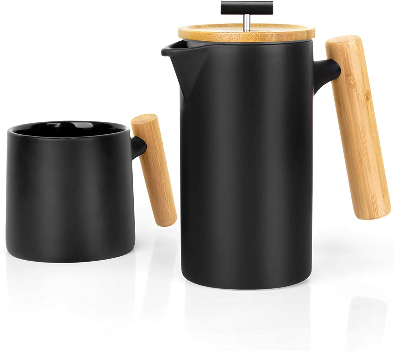 Ceramic French Press Coffee Maker Coffee Press Coffee Plunger (24 oz.)  Non-Pgoldus Stoneware   with Coffee Mug (Black)