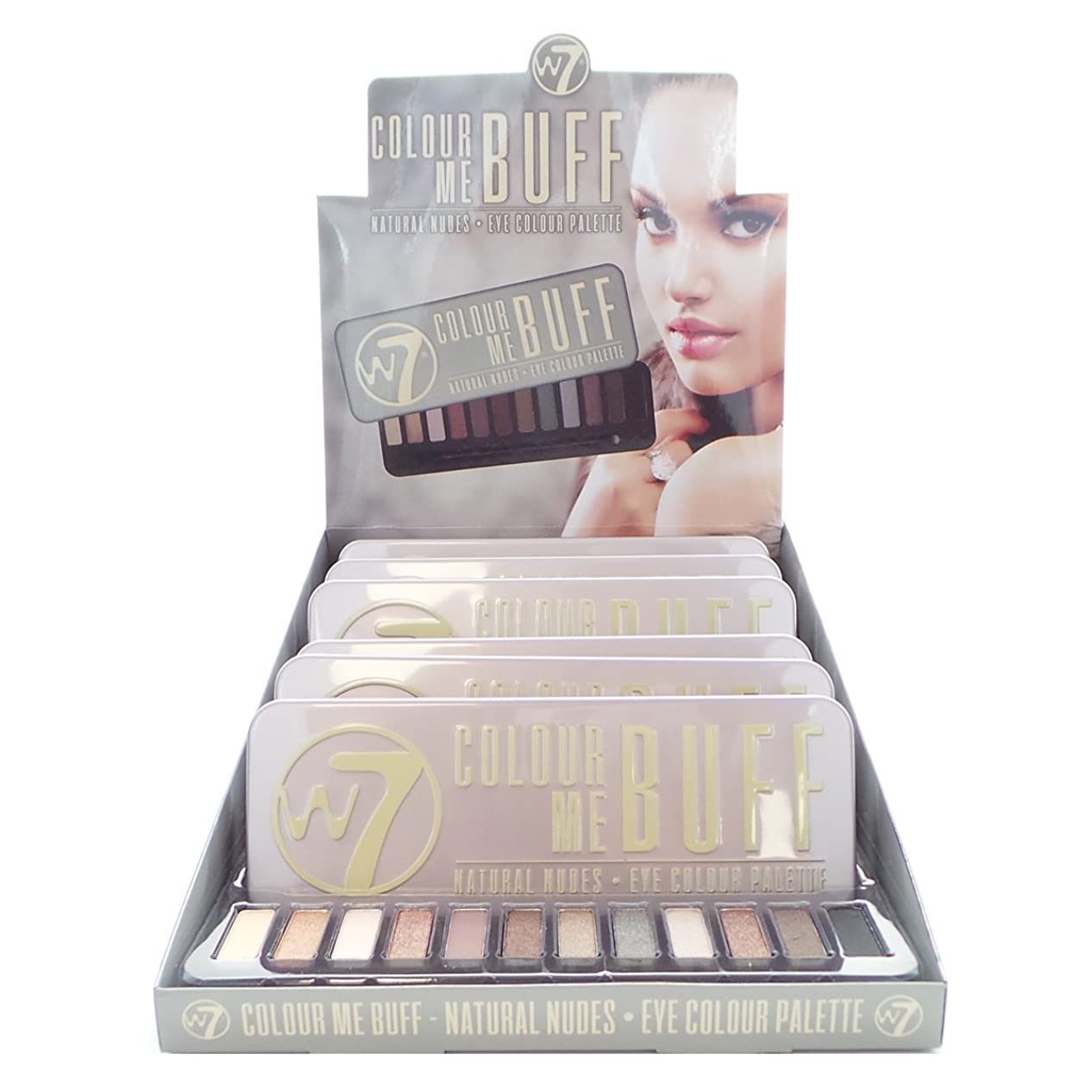圧倒的レンダリング時期尚早W7 Colour Me Buff Natural Nudes Eye Colour Palette Display Set, 6 Pieces Plus Display Tester (並行輸入品)