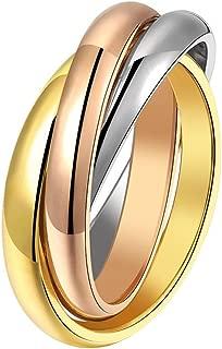 LANHI Unisex Stainless Steel Tri Color Interlocked Spinner Ring, Three in One