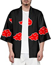 Anime-Cos Men's Anime Cloud Kimono Shirt Open Stitch Cardigan Akatsuki Uchiha Cloak Robe Cosplay Costume