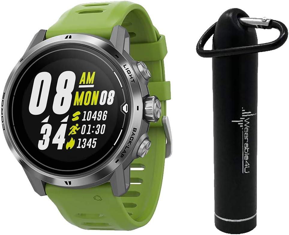 Coros APEX Pro Premium Multisport GPS Watch and Wearable4U Compact Power Bank Bundle (Silver)