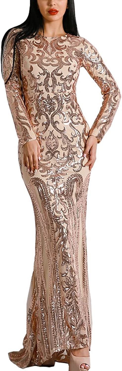 WRStore Long Sleeve Retro Sequin Maxi Evening Dress