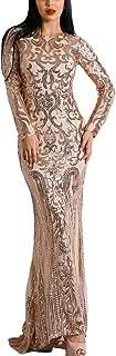 Long Sleeve Retro Sequin Maxi Evening Dress