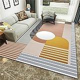 Salón Moderna Varias Dimensiones,Estudio Moda Redondo Empalme Rayado Colorido Impresión Fácil de Enfermería Alfombra-160x230cm