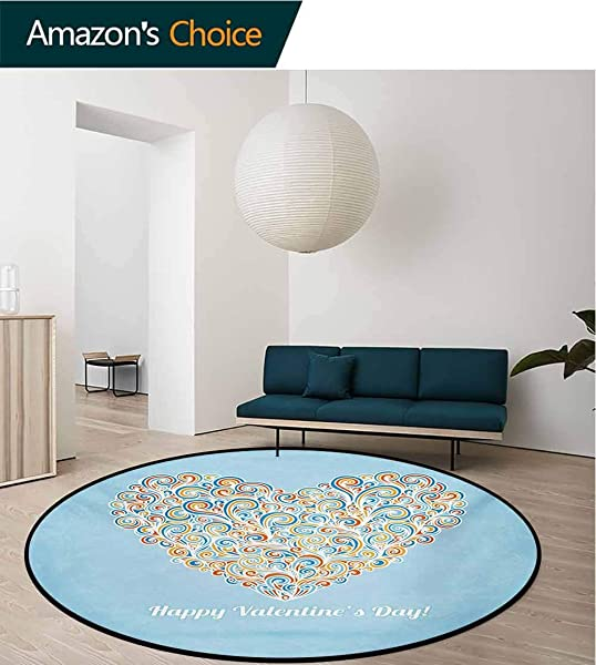 RUGSMAT Valentines Day Modern Machine Washable Round Bath Mat Happy Love Valentines Day Image With Paisley Floral Colorful Heart Design Non Slip Soft Floor Mat Home Decor Diameter 59 Inch