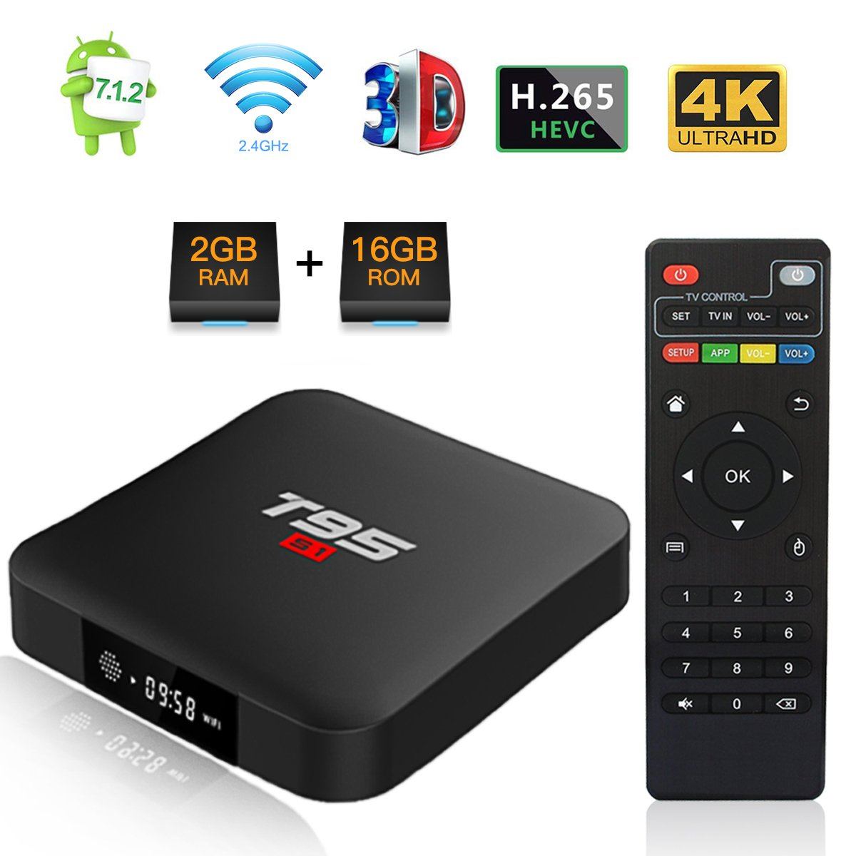 Android TV Box, T95 S1 TV Box 2GB RAM/16GB ROM Android 7.1 Amlogic S905W Quad Core con 2.4Ghz WiFi H.265 4K HDMI DLNA Media Player: Amazon.es: Electrónica