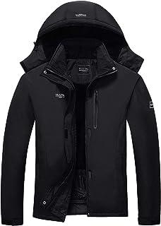 Men's Mountain Waterproof Ski Jacket Detachable Hood Windproof Rain Winter Warm Snow Coat