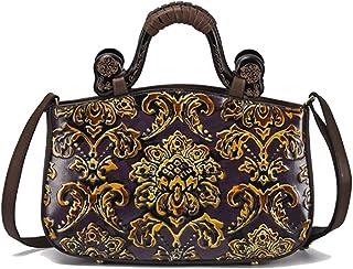 Skbiubiu Women's new leather handbag fashion retro shoulder diagonal package (Color : Purple)