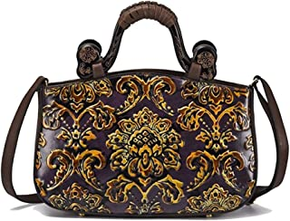 SGJFZD Women's New Leather Handbag Fashionable Retro Shoulder Diagonal Package (Color : Purple)