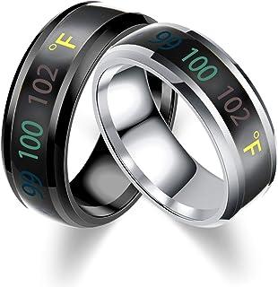 Aooaz Fahrenheit Temperature Monitor Rings for Men Thermometer Body Temperature Sensor Smart Rings 2pcs