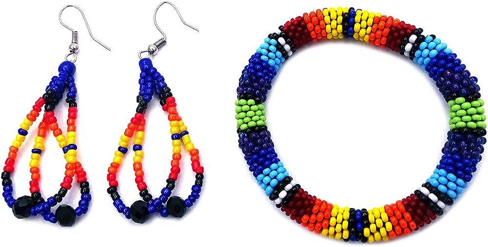 Handmade Native American Style Tribal Seed Bead Bangle Bracelet Multi Strand Teardrop Dangle Earrings Jewelry Set