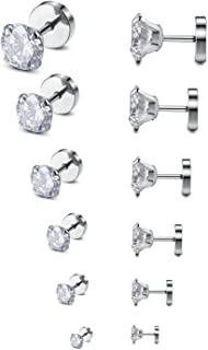 18-20G Round Clear CZ Stud Earrings Stainless Steel 6Pairs Earring Set for Women