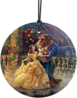 Trend Setters Thomas Kinkade Disney Dancing in The Moonlight Beauty and The Beast Starfire Prints Hanging Glass