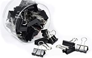 Metal Binder Paper Clip, Paper Clamp, Spring Clip, Small Medium Large Binding Clips, Home Office Supply, Outdoor Kit, Clips for Paperwork, Color & Size Assorted, in Plastic Box (Black 0.75in)