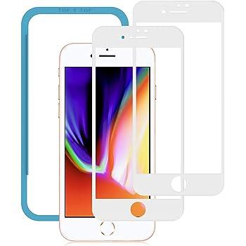 NIMASO iPhone 8 / 7 用 全面保護フィルム 強化ガラスフィルム 【フルカバー】【2枚セット】 (ホワイト)