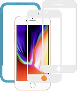 2枚セット NIMASO ガラスフィルム iPhone 8 / 7 用 強化ガラス 全面保護 フィルム フルカバー ガイド枠付き