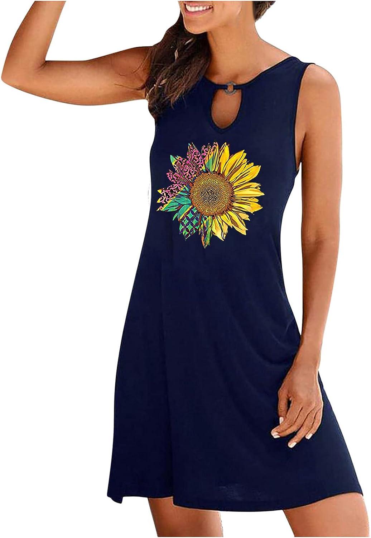 Sun Dresses Women Summer Fashion Women's Casual Sleeveless O-Neck Ladies Hollow Out Slim Mini Dress Casual Sexy Boho Blue