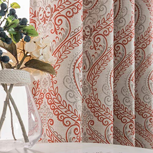 Linen Textured Curtains for Bedroom Damask Printed Drapes Vintage Linen Look Medallion Curtain Panels Window Treatments Room Darkening for Living Room Patio Door 2 Panels 84 Inch Terrared