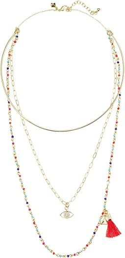 Layered Collar Necklace with Multi Seed Beads