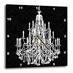 3dRose DPP_164675_3 Chic White Chandelier with Black Damask Wall Clock, 15 by 15-Inch