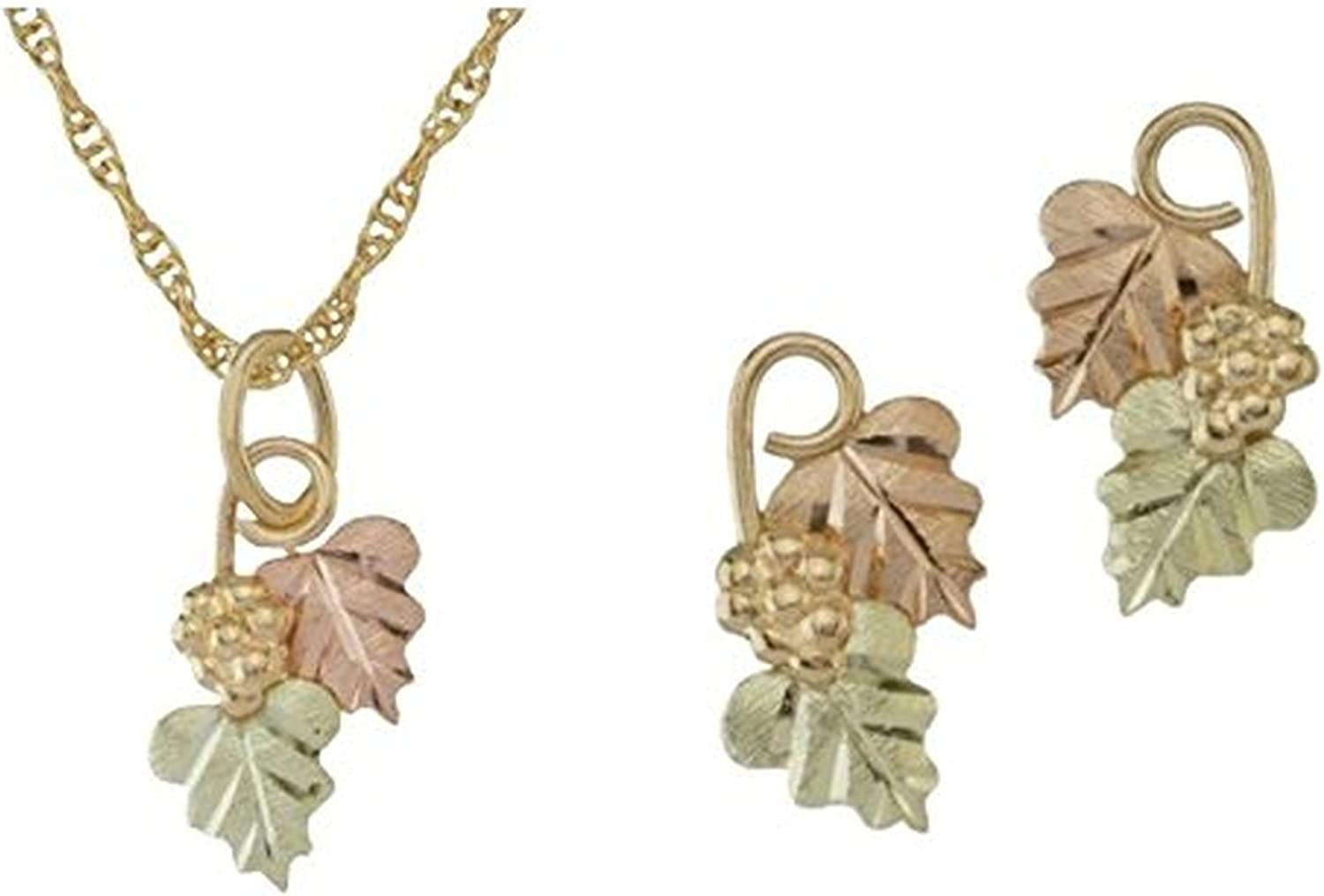 Black Hills Gold Motif Drop Necklace and Earrings Jewelry Set, 10k Yellow Gold, 12k Rose and Green Gold, 18