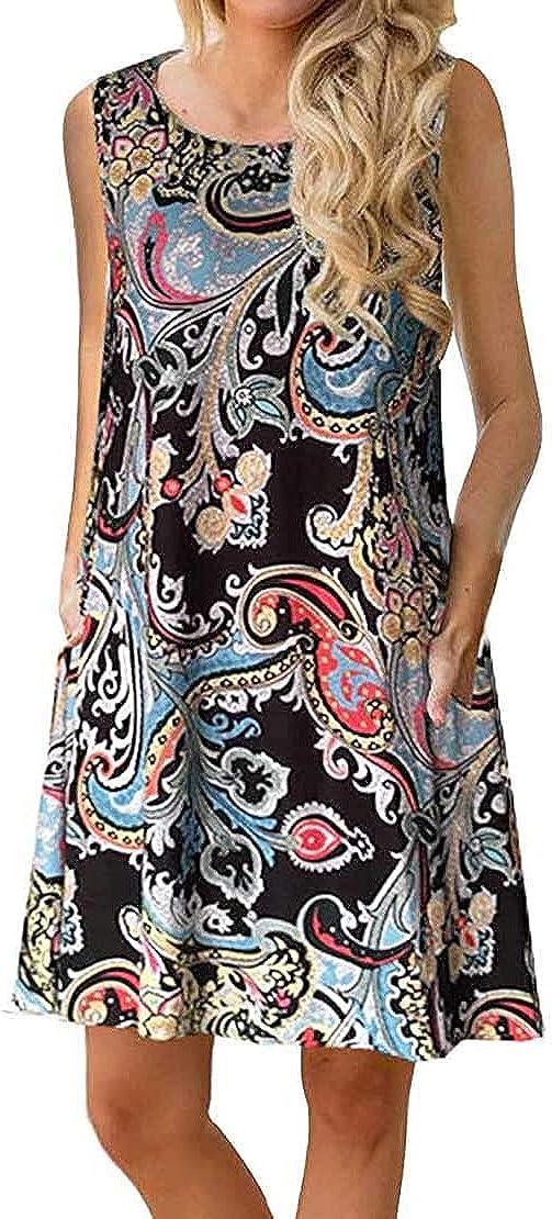 Edutitta Women's Summer Sleeveless Casual Damask Print Loose Swing Dress T-Shirt Tank with Pockets