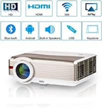 Wireless Bluetooth Video Projector LED LCD 5000 Lumens WXGA Smart Android WiFi Movie Projector Support 1080P HD Airplay Miracast for Home Theater Cinema Gaming with HDMI USB VGA AV 3.5mm Audio Jack