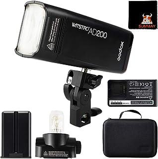 GODOX AD200 Pocket Flash Speedlite 200Ws 2.4G 1/8000s HSS Cordless Monolight Kit, 500 Full Power Pocket Flash, 0.01-2.1s R...