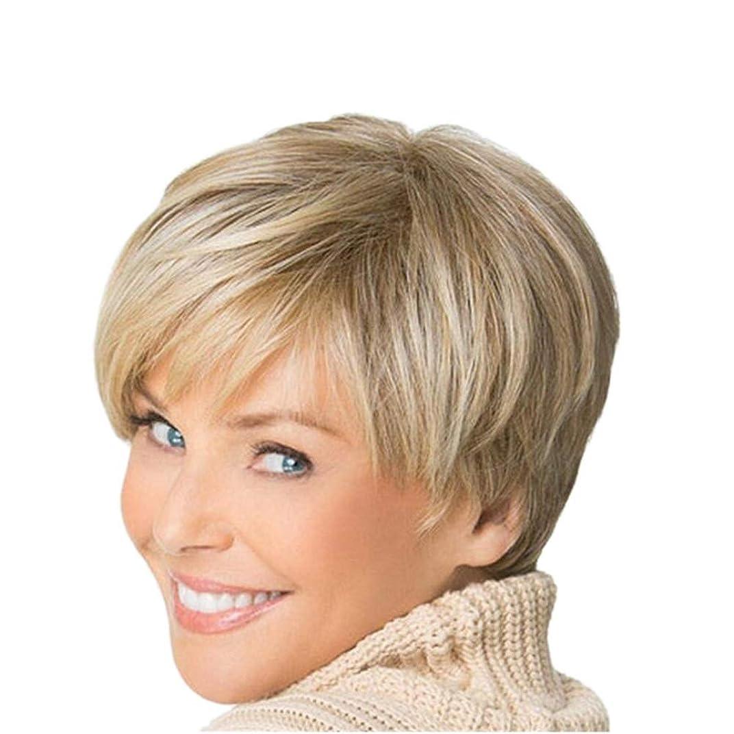 血まみれラベンダー小麦YOUQIU 女性ブロンドボブヘアウィッグ自然な耐熱かつらのためにショートカーリーふわふわウィッグ (色 : Blonde)