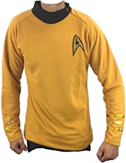 Classic Space Captain Yellow Shirt Costume Cosplay Uniform TOS Sci-Fi (XL, Gold)