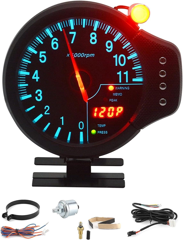 Tacómetro de coche, indicador de tacómetro de instrumento digital de coche 3 en 1, indicador de presión de aceite, medidor de temperatura del agua, LED 11000 RPM