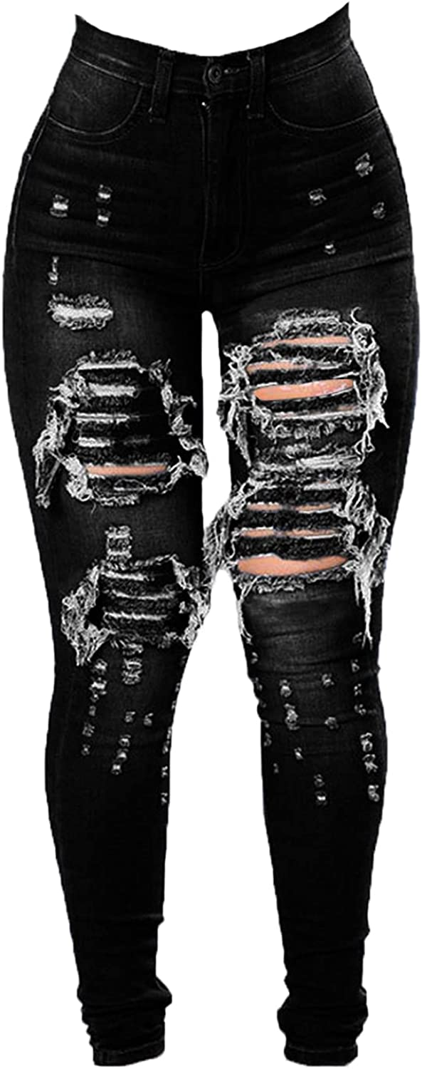 Soluo Women's High Waist Skinny Ripped Jeans Slim Destroyed Denim Stretch Trousers Ladies Sexy Hole Pencil Jean Pants