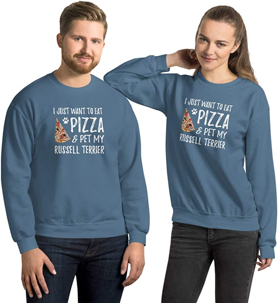 Pizza and Jack Russell Terrier Sweatshirt Dog Mom or Dog Dad Gift for Him Indigo Blue