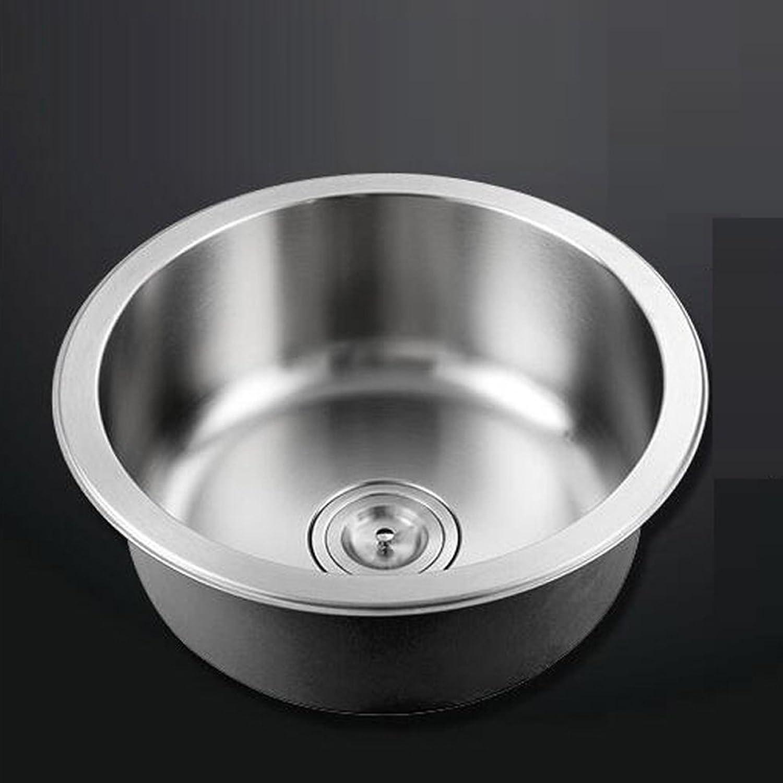 WINZSC Kitchen round single trough 304 stainless steel sink bowl kitchen sink dish wash bowl thickened wx4191537 (Size   B D42CM)