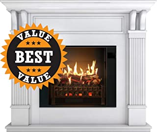 MagikFlame Most Realistic Electric Fireplaces - Trinity White Electric Fireplace with Wood Mantel Package - Large 55