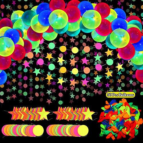54 Suministros de Fiesta de Brillar, Incluyes 57.8 Pies Guirnalda de Puntos Circulares y Estrella de Neón Luz Negro, 50 Globos de Neón Fluorescentes Reactivos de Luz Negra de 10 Pulgadas