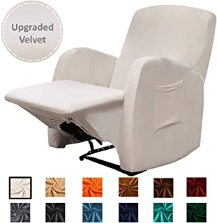 Argstar Velvet Stylish Recliner Slip Cover, Anti Slip Stretch Couch Cover for Living Room, Cream White