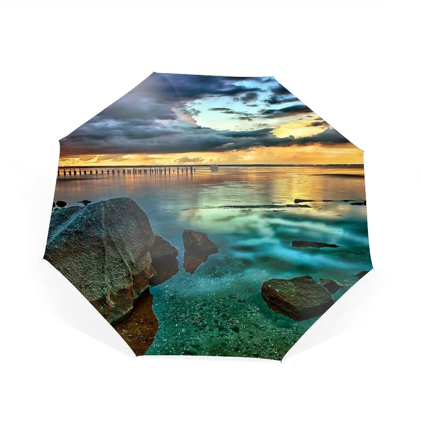 チキンすすり泣き通常日没自動開閉折り畳み傘 2重構造 耐風撥水8本骨 男女兼用 丈夫 大型 大きな傘 梅雨対策 収納ポーチ付き