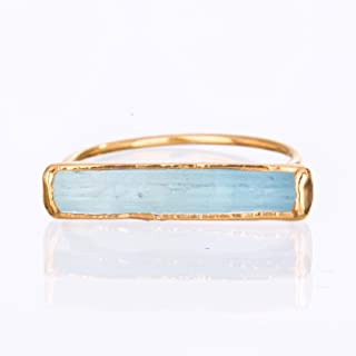 Size 7 Raw Aquamarine Ring, Yellow Gold, March Birthstone Jewelry