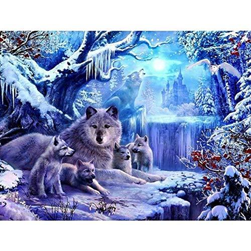 LANSUER DIY 5D Diamant-Gemälde von Anzahl Kits, Gemälde Kreuz Voll Runde Drill Kristall Stickerei für Zuhause-Wand-Dekor-Geschenk Wolf 15.7x11.8in 1 Pack by