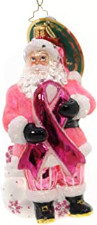 Christopher Radko Breast Cancer Santa Charity Awareness Glass Ornament - 2017 Breast Cancer Awareness Ornament - 5.5
