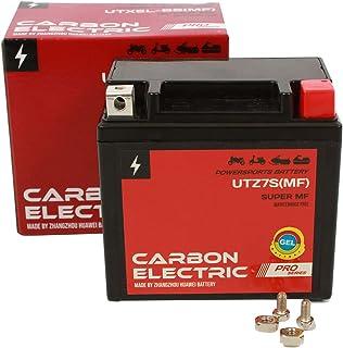 Carbon Electric Gel Batterie YTZ7S Gelbatterie 12V 6Ah Wartungsfrei Versiegelt Akkumulator Motorrad Roller Motorradbatterie Rollerbatterie UTZ7S