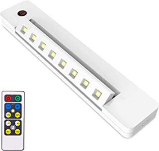 BIGLIGHT Under Counter Light Battery Operated, Dimmable Closet Light with Remote and Timer, Wireless Under Cabinet Lighting, Swivel Stick on Lights for Art Pantry Wardrobe Shelf, Warm White, 10 Inch