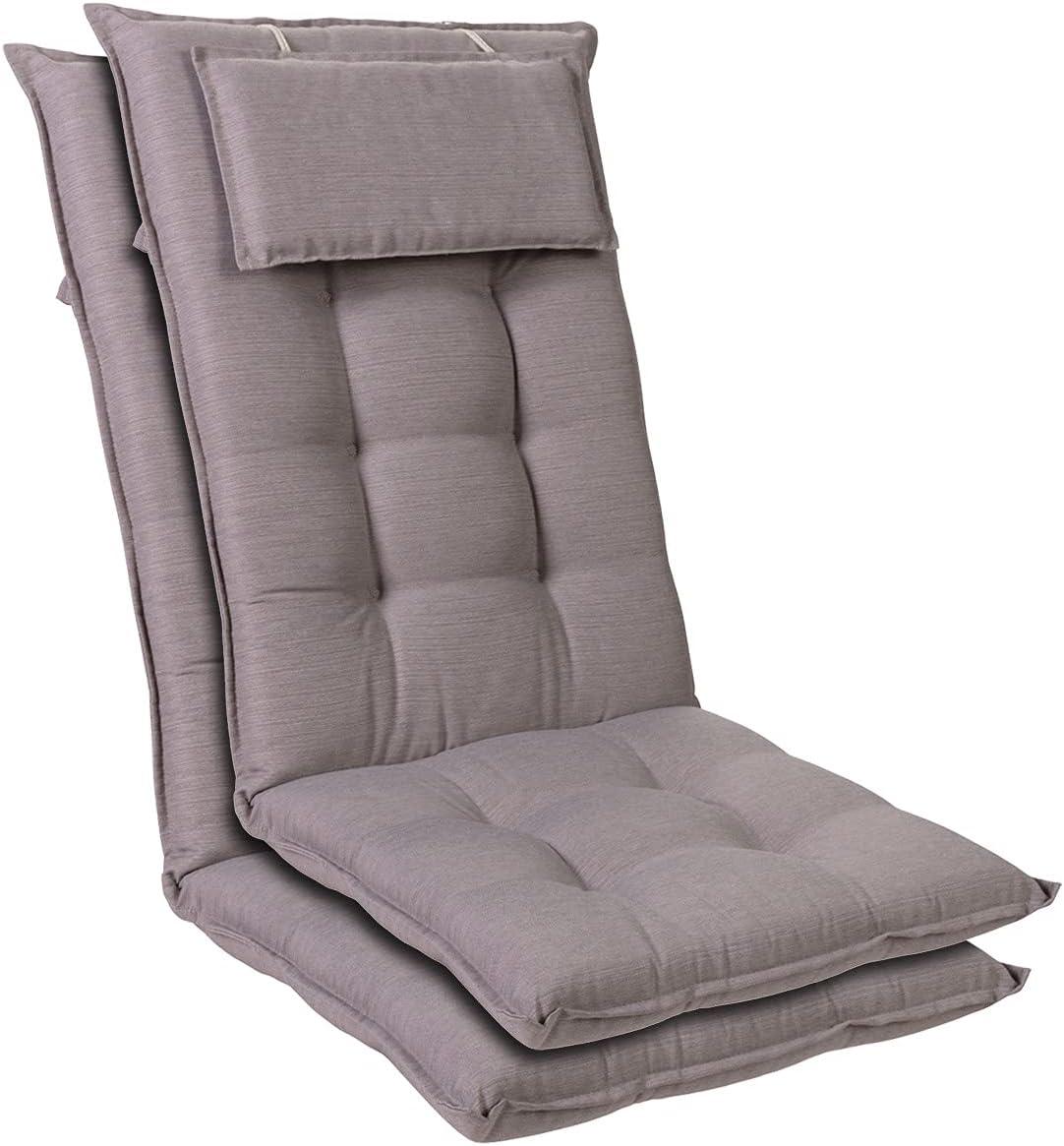 Homeoutfit24 Sylt - Cojín Acolchado para sillas de jardín, Hecho en Europa, Respaldo Alto con cojín de Cabeza extraíble, Resistente Rayos UV, Poliéster, 120 x 50 x 9 cm, 2 Unidades, Gris Platino