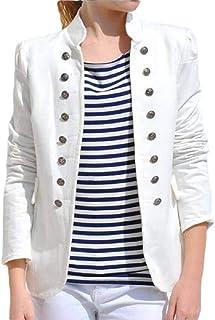 Women's Business Casual Button Pockets Open Front Blazer Cardigan