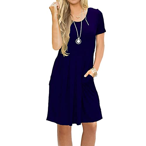 AUSELILY Women s Short Sleeve Pleated Loose Swing Casual Dress with Pockets  Knee Length c836c10ff